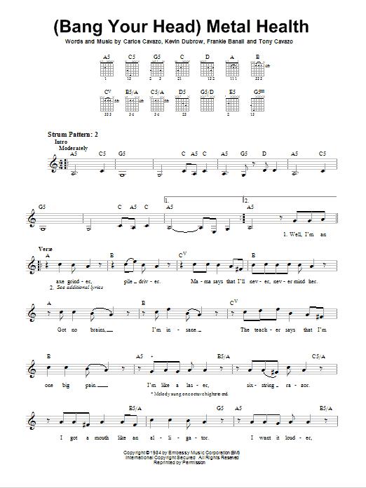 Tablature guitare (Bang Your Head) Metal Health de Quiet Riot - Tablature guitare facile