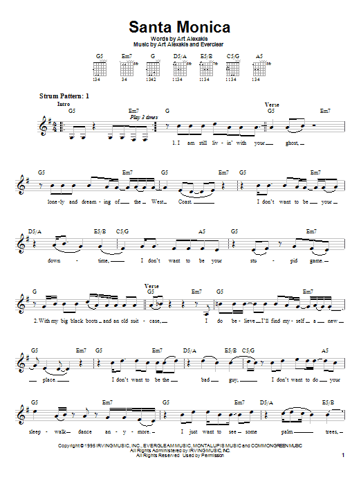 Tablature guitare Santa Monica de Everclear - Tablature guitare facile