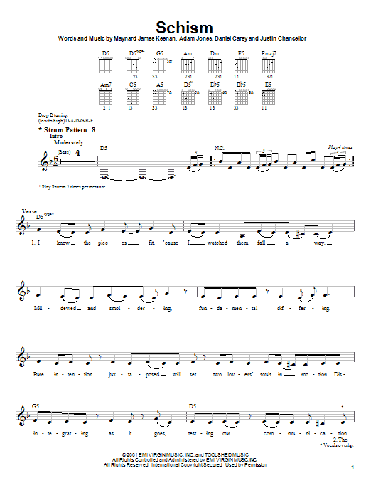 Tablature guitare Schism de Tool - Tablature guitare facile