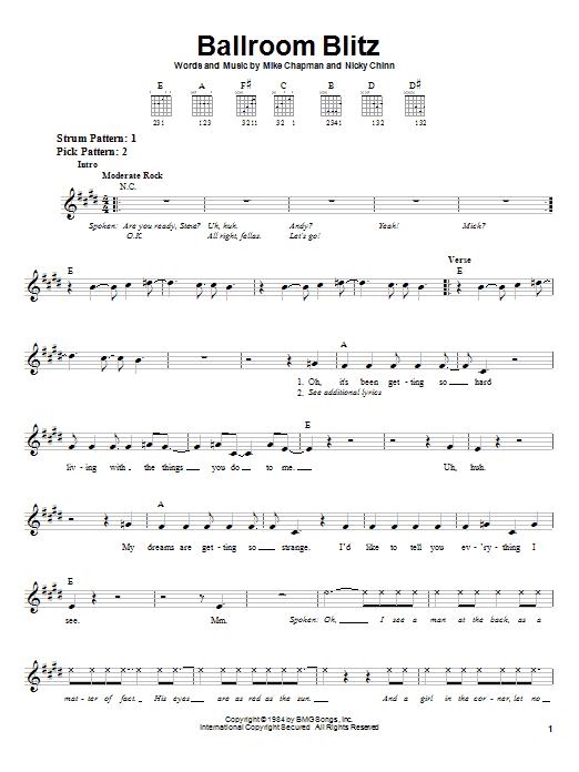 Tablature guitare Ballroom Blitz de Sweet - Tablature guitare facile