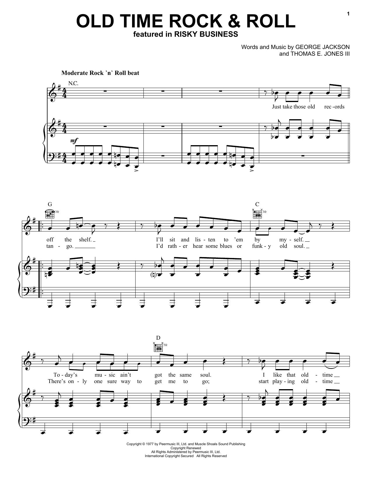 Partition piano Old Time Rock & Roll de Bob Seger - Piano Voix Guitare (Mélodie Main Droite)