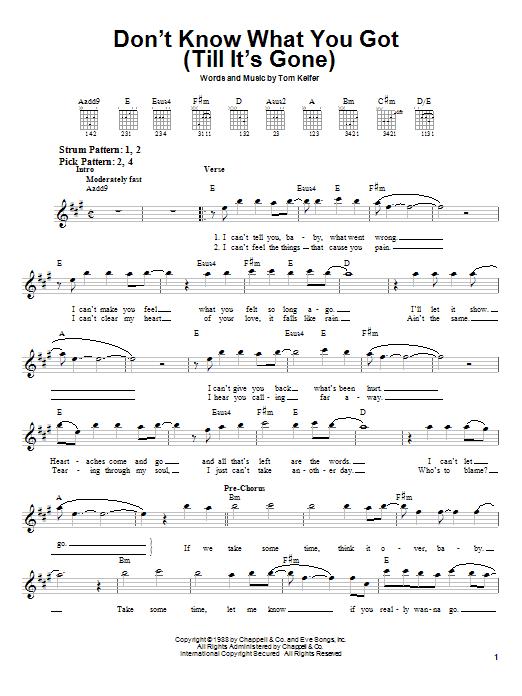 Tablature guitare Don't Know What You Got (Till It's Gone) de Cinderella - Tablature guitare facile