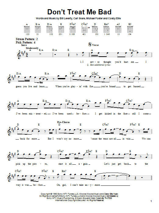 Don't Treat Me Bad sheet music for guitar solo (chords) by Michael Foster