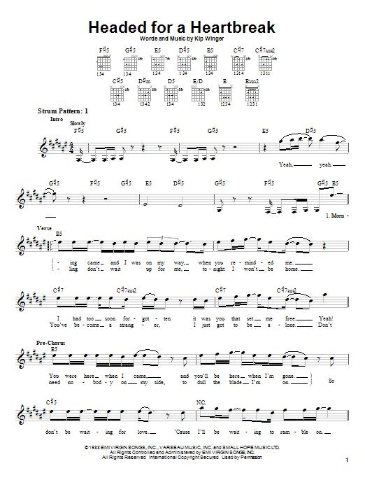 Tablature guitare Headed For A Heartbreak de Winger - Tablature guitare facile