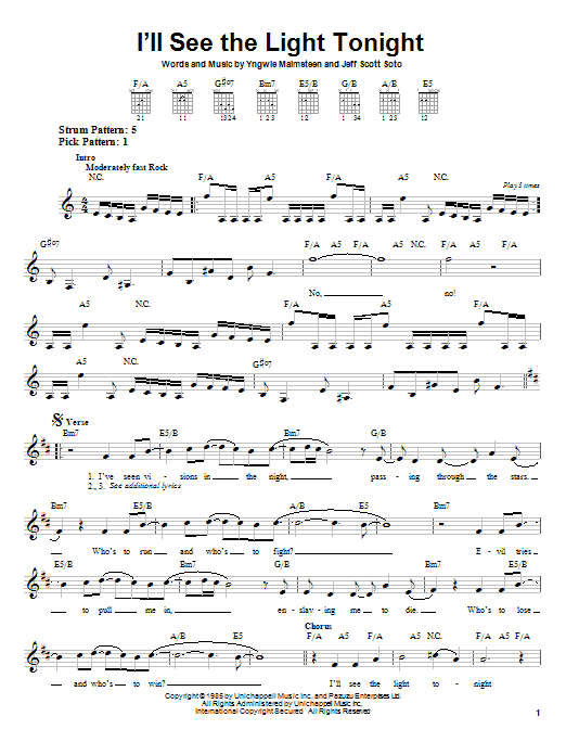 I'll See The Light Tonight sheet music for guitar solo (chords) by Jeff Scott Soto