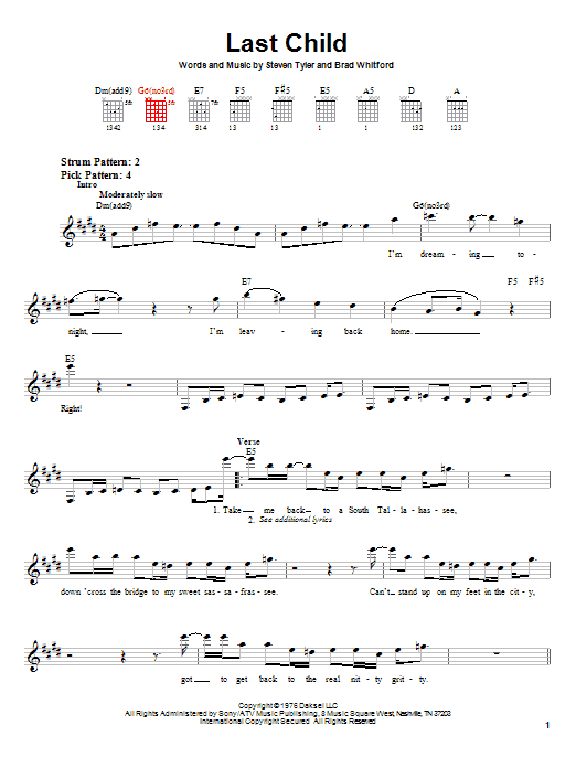 Tablature guitare Last Child de Aerosmith - Tablature guitare facile