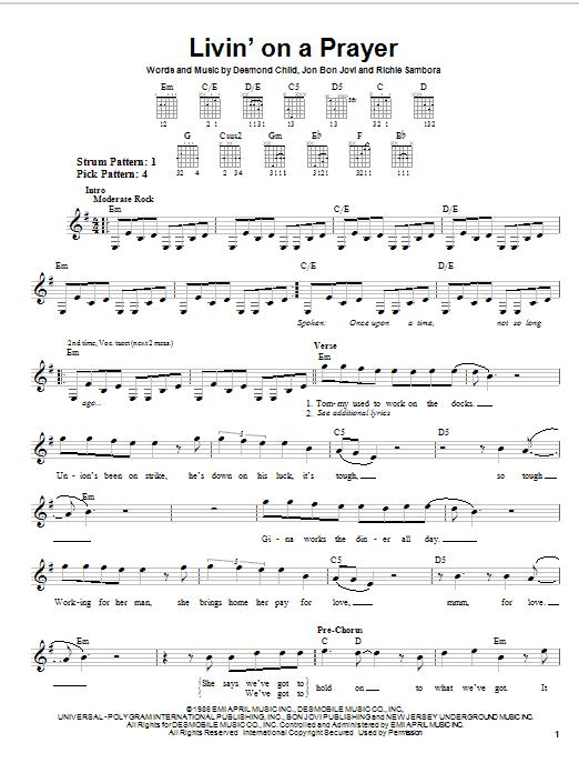 Tablature guitare Livin' On A Prayer de Bon Jovi - Tablature guitare facile