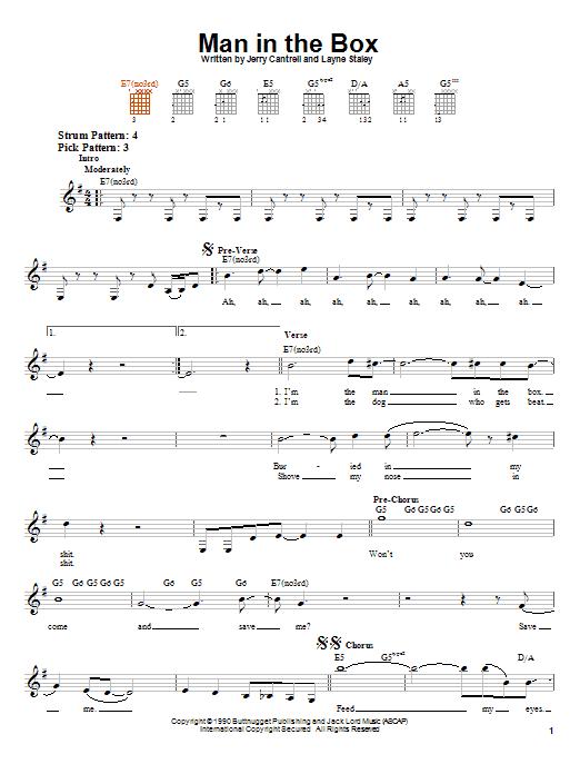 Tablature guitare Man In The Box de Alice In Chains - Tablature guitare facile