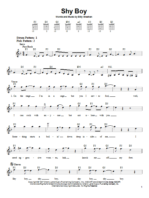 Shy Boy sheet music for guitar solo (chords) by Billy Sheehan