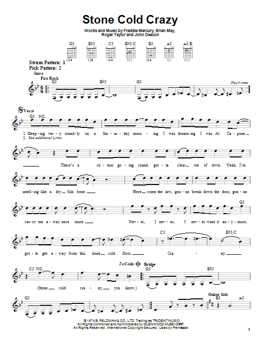 Tablature guitare Stone Cold Crazy de Queen - Tablature guitare facile