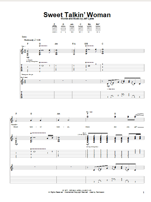 Tablature guitare Sweet Talkin' Woman de Electric Light Orchestra - Tablature Guitare
