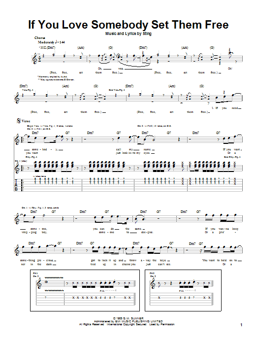 Tablature guitare If You Love Somebody Set Them Free de Sting - Tablature Guitare