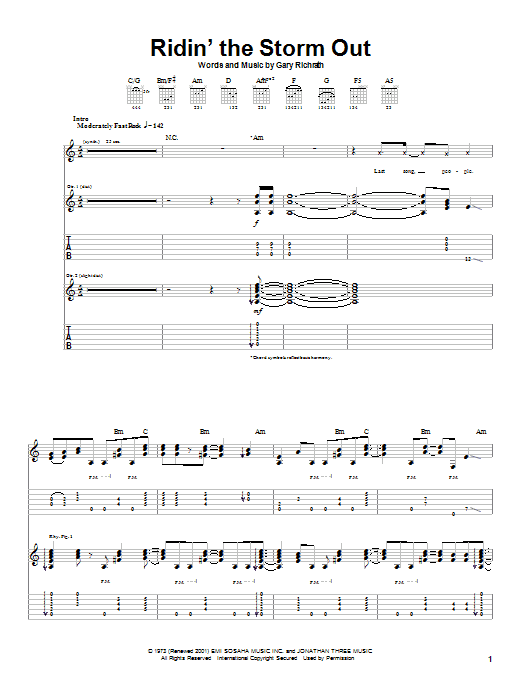 Tablature guitare Ridin' The Storm Out de REO Speedwagon - Tablature Guitare