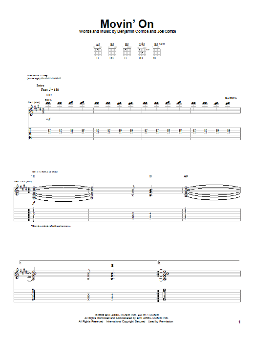 Movin' On sheet music for guitar solo (tablature) by Joel Combs