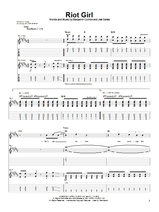 Riot Girl sheet music for guitar solo (tablature) by Joel Combs