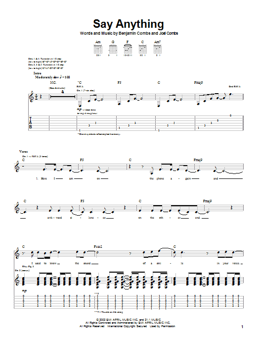 Say Anything sheet music for guitar solo (tablature) by Joel Combs