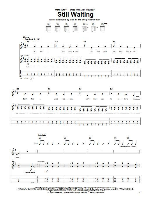 Tablature guitare Still Waiting de Sum 41 - Tablature Guitare