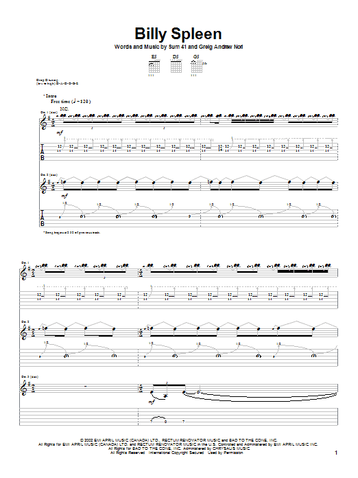Tablature guitare Billy Spleen de Sum 41 - Tablature Guitare