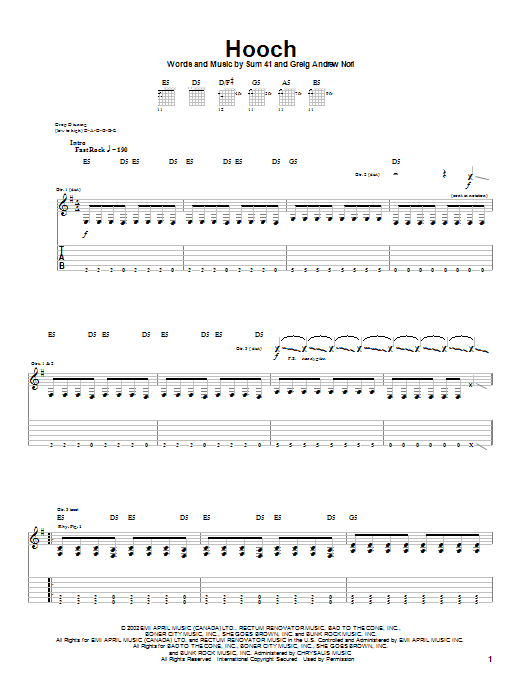 Tablature guitare Hooch de Sum 41 - Tablature Guitare