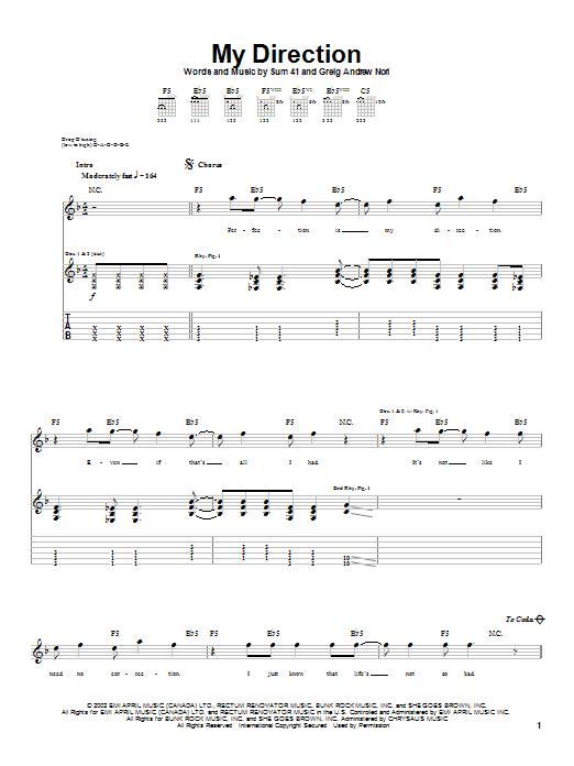 Tablature guitare My Direction de Sum 41 - Tablature Guitare