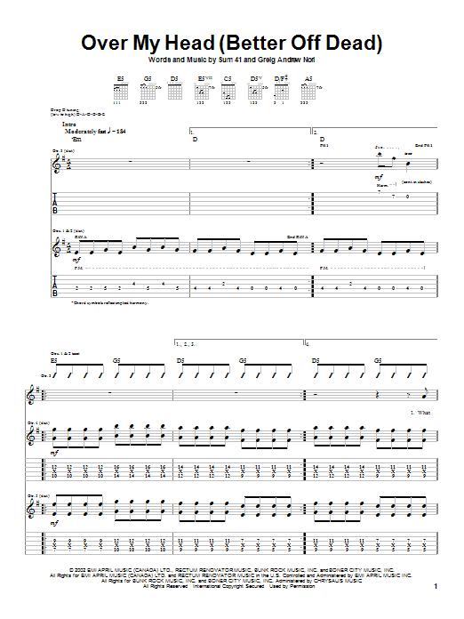 Tablature guitare Over My Head (Better Off Dead) de Sum 41 - Tablature Guitare