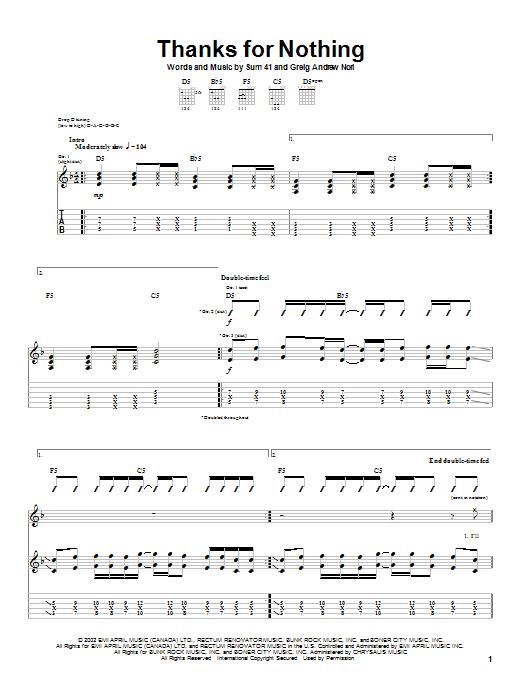 Tablature guitare Thanks For Nothing de Sum 41 - Tablature Guitare