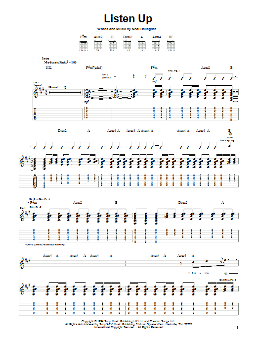 Tablature guitare Listen Up de Oasis - Tablature Guitare
