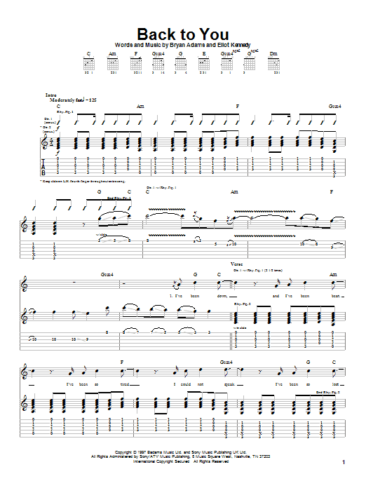 Tablature guitare Back To You de Bryan Adams - Tablature Guitare