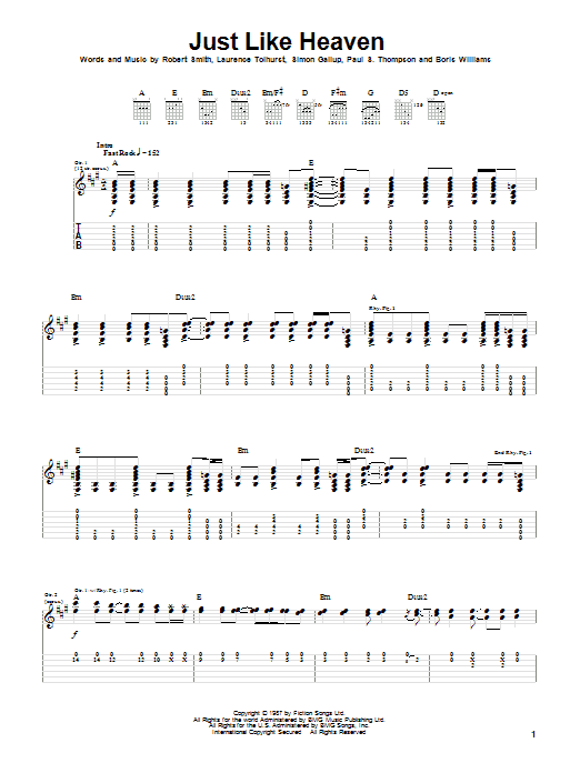 Just Like Heaven sheet music for guitar solo (tablature) by Simon Gallup