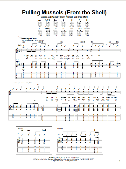 Tablature guitare Pulling Mussels (From The Shell) de Squeeze - Tablature Guitare