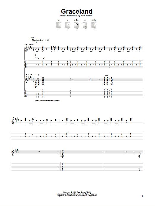 Tablature guitare Graceland de Paul Simon - Tablature Guitare