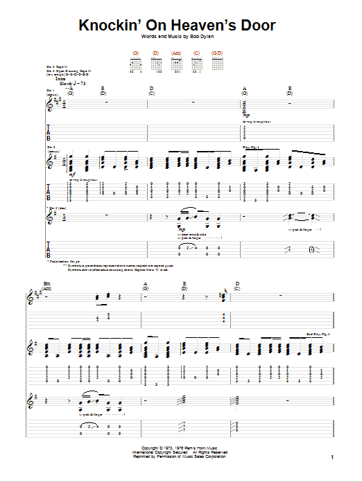 Tablature guitare Knockin' On Heaven's Door de Eric Clapton - Tablature Guitare