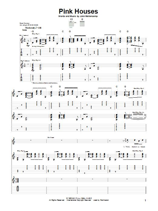 Tablature guitare Pink Houses de John Cougar Mellencamp - Tablature Guitare