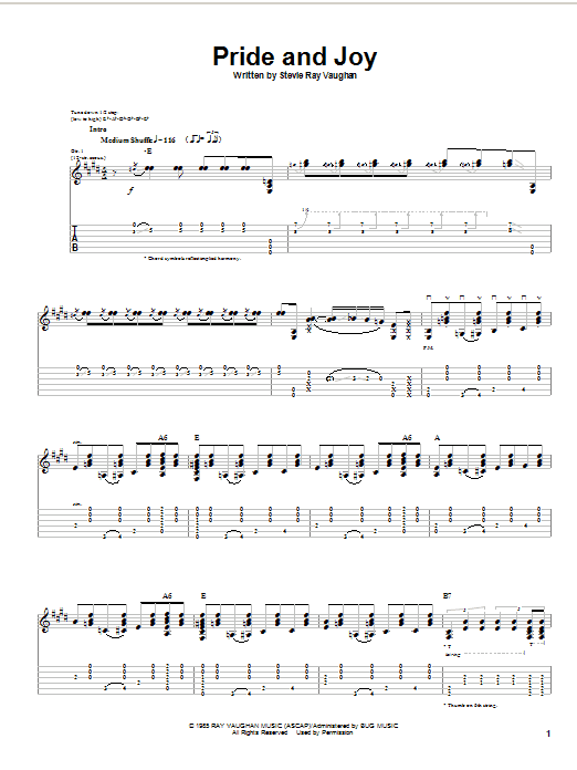 Tablature guitare Pride And Joy de Stevie Ray Vaughan - Tablature Guitare
