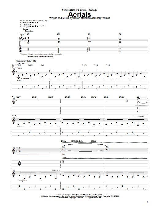 Aerials sheet music for guitar solo (tablature) by Serj Tankian