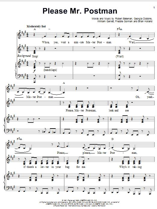 Partition piano Please Mr. Postman de The Marvelettes - Piano Voix Guitare (Mélodie Main Droite)