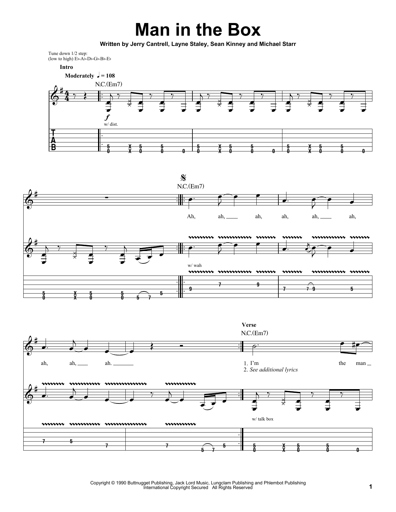 Man In The Box sheet music for guitar solo (tablature, play-along) by Sean Kinney
