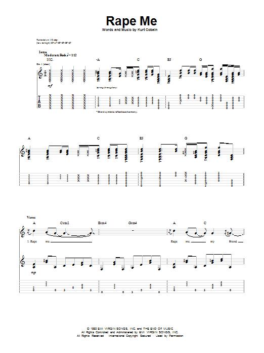 Tablature guitare Rape Me de Nirvana - Tablature Guitare