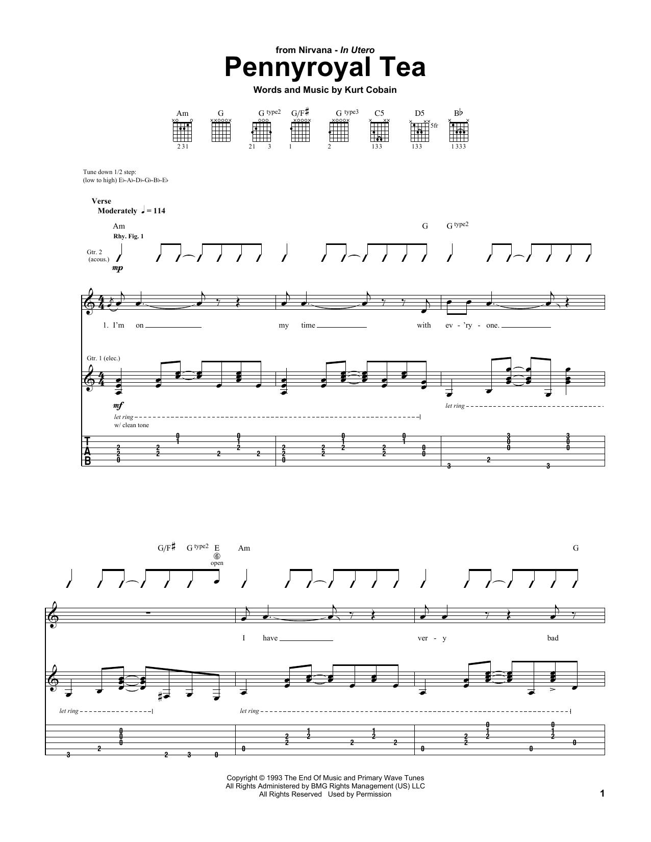 Tablature guitare Penny Royal Tea de Nirvana - Tablature Guitare