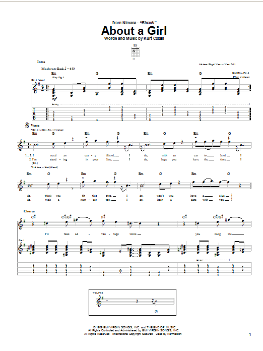 Tablature guitare About A Girl de Nirvana - Tablature Guitare