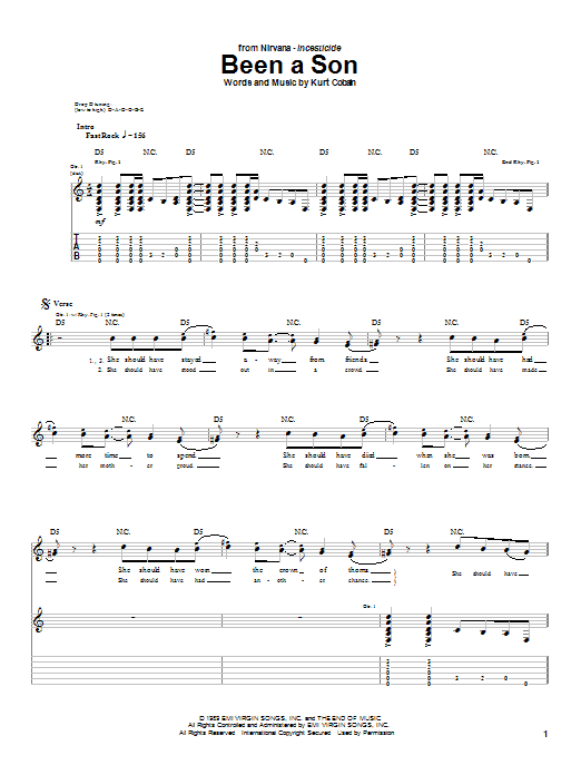 Tablature guitare Been A Son de Nirvana - Tablature Guitare