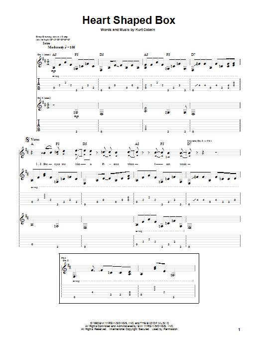 Tablature guitare Heart Shaped Box de Nirvana - Tablature Guitare