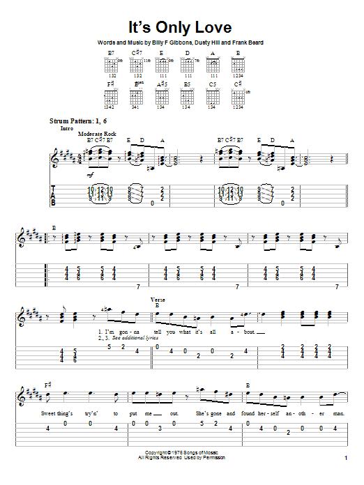 Tablature guitare It's Only Love de ZZ Top - Tablature guitare facile