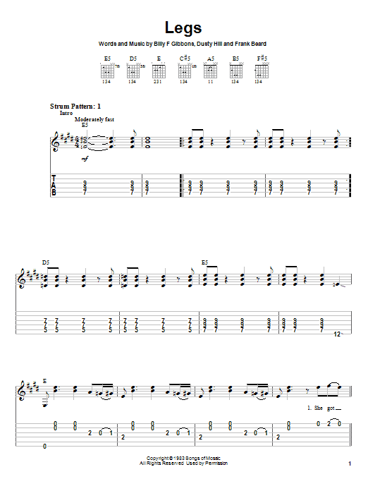 Tablature guitare Legs de ZZ Top - Tablature guitare facile