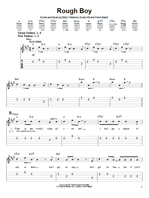 Rough Boy sheet music by ZZ Top (Easy Guitar Tab u2013 23180)