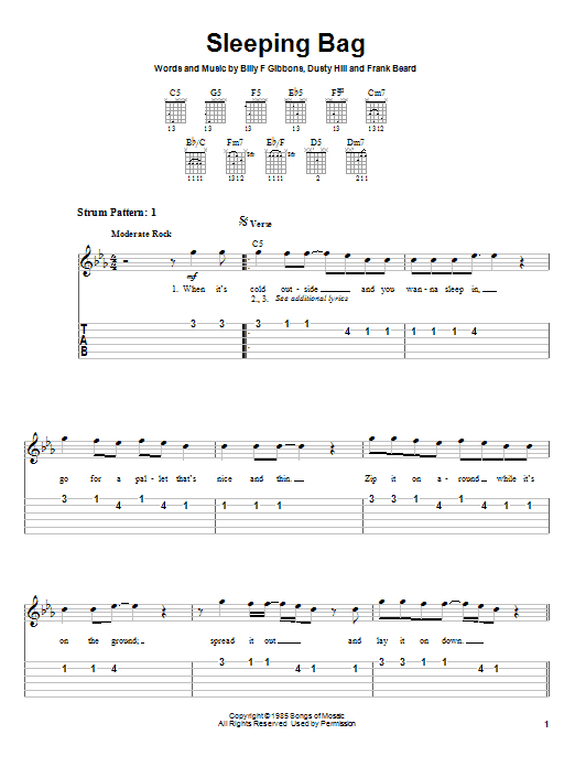 Tablature guitare Sleeping Bag de ZZ Top - Tablature guitare facile