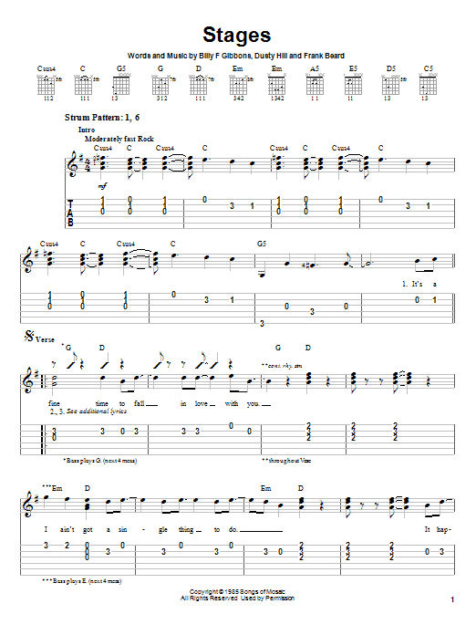 Tablature guitare Stages de ZZ Top - Tablature guitare facile