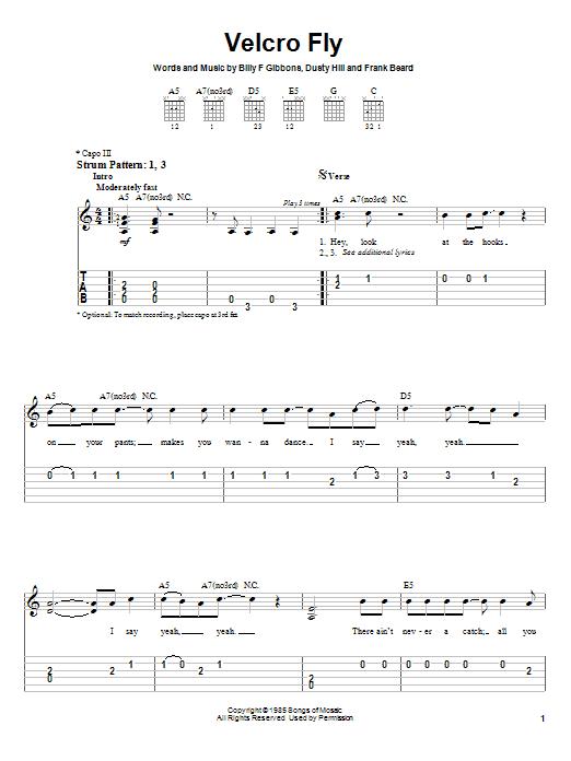 Tablature guitare Velcro Fly de ZZ Top - Tablature guitare facile