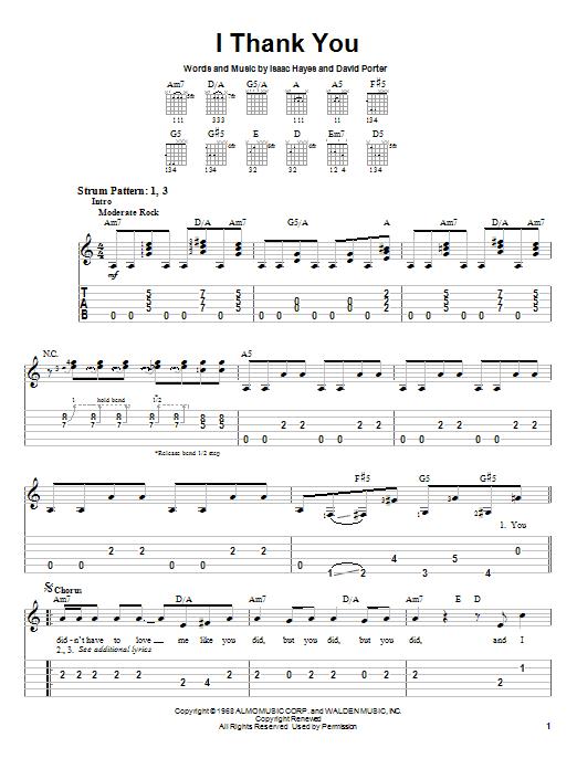 Tablature guitare I Thank You de ZZ Top - Tablature guitare facile