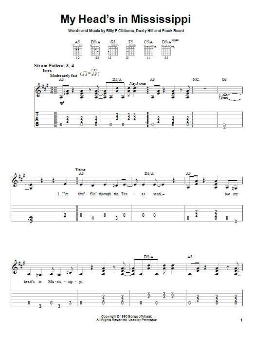 Tablature guitare My Head's In Mississippi de ZZ Top - Tablature guitare facile